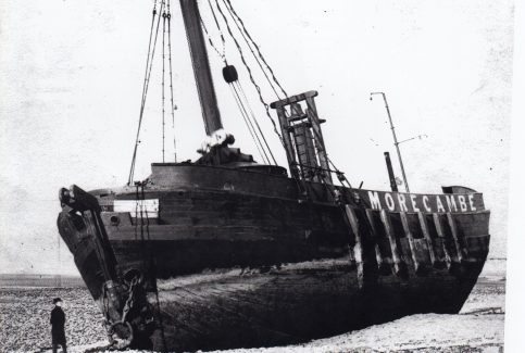 The Morecambe lightship ashore  after parting her moorings in a storm November 1894