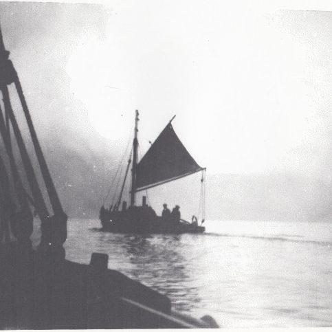 A Morecambe Bay fishing boat at sea with her mainsail set