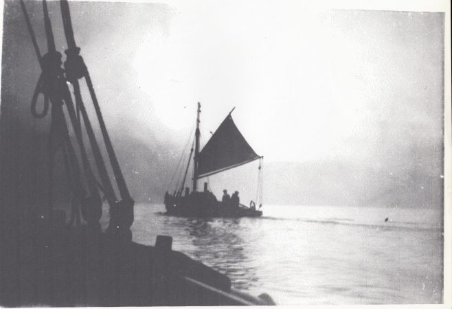A Morecambe Bay fishing boat at sea with her mainsail set | Keith Willacy collection