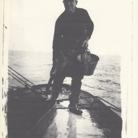 A Morecambe Bay fisherman on his boat
