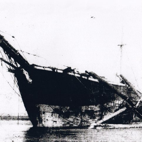 "The wreck of the barque ""Vanadis"" in Half Moon Bay, Heysham"
