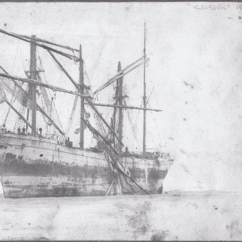 "The four masted sailing ship ""Kelburn"" stranded on the Yeoman Bank"
