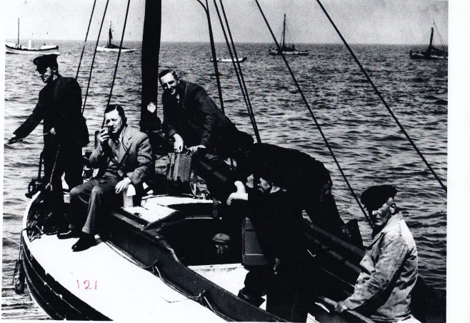 Five fishermen pose aboard a Morecambe boat | Keith Willacy collection