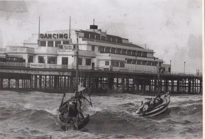 Two Morecambe boats weather a rough sea at ther moorings along side Central Pier | Keith Willacy collection