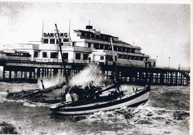 Morecambe boats weather a rough sea at ther moorings along side Central Pier   Keith Willacy collection