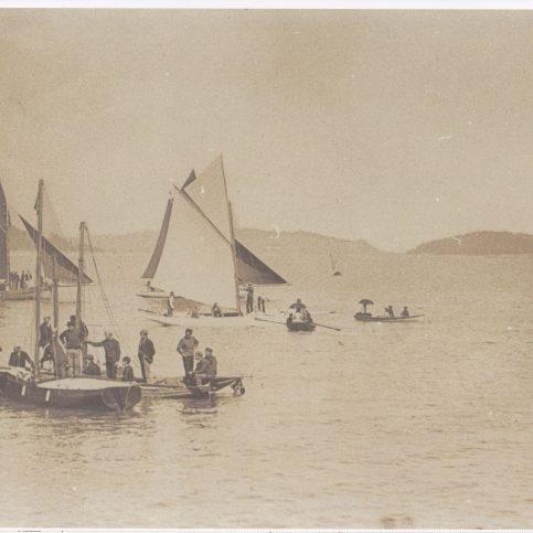 Pleasure yachts in the bay