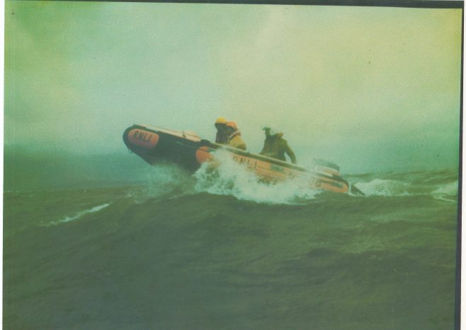 Morecambe Inshore Lifeboat in rough seas with a crew of three | Keith Willacy collection