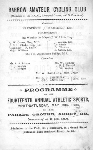 Programme for the Barrow Amateur Cycling Club competitions held on the parade Ground (now Parade Street), Barrow 1894. Competitors came from as far as Manchester BDX 400  | Copyright: Cumbria Archive and Local Studies Centre, Barrow-in-Furness