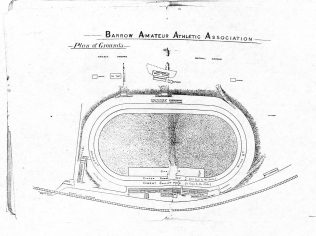 "Plan of the athletics and cycling stadium at Cavendish Park, Barrow-in-Furness. early 1900s. Membership of the club cost £1 1s for men, 10s 6d for ladies which ""provides for all the privileges of the cricket,  cycle and football clubs including free admission to the ground and stands.""  BDY 240"