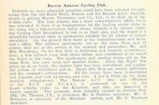 Barrow Amateur Cycling Club- Entry in the Furness Year Book 1906  | Copyright: Cumbria Archive and Local Studies Centre, Barrow-in-Furness