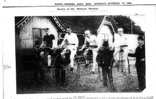 Walker won the B Challenge Cup in 1884 and 1885 and a championship on the Is Cyclists from the left are James Walker, William Walker, Threlfall   North Western Daily Mail 16 November 1912  | Copyright: Cumbria Archive and Local Studies Centre, Barrow-in-Furness