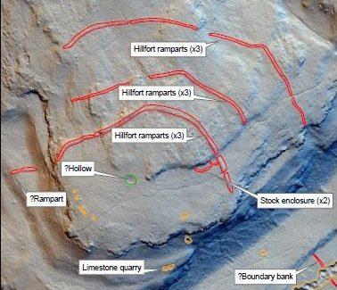 Historic England's Original 2016 Interpretation of Warton Crag LIDAR