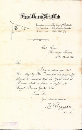 Letter confirming the right of Barrow Yacht Club to be called Royal Barrow Yacht Club 1881 - Furness Collection Z 2258/2 | Copyright: Cumbria Archive and Local Studies Centre, Barrow-in-Furness