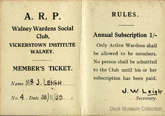 Member's ticket for the A.R.P. Walney Warden's Club