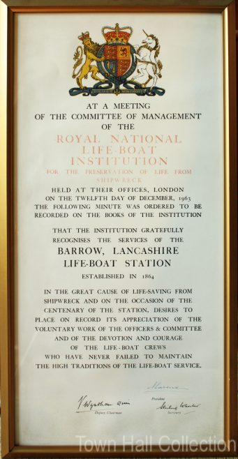 Barrow Lifeboat Station Centenary Certificate